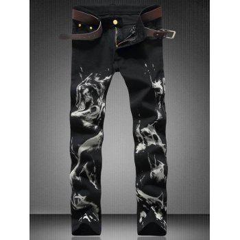 Straight Leg Zipper Fly Wolf Printed Jeans