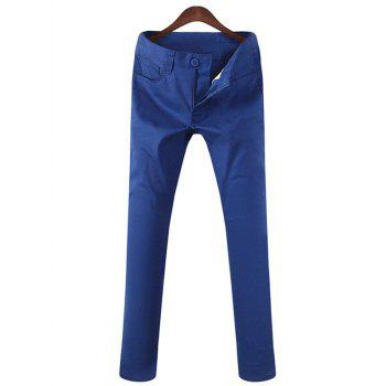 Zipper Fly Mid Rise Pocket Casual Pants
