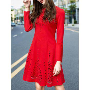 Long Sleeve Openwork A Line Cocktail Dress