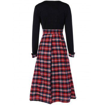 Scottish Plaid Patch Design Long Sleeve Vintage Dress - RED/BLACK XL