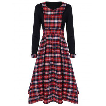 Scottish Plaid Patch Design Long Sleeve Vintage Dress - RED WITH BLACK L