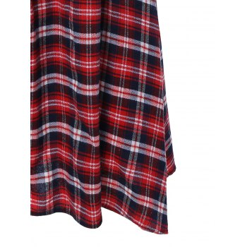 Scottish Plaid Patch Design Long Sleeve Vintage Dress - L L