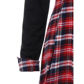 Scottish Plaid Patch Design Long Sleeve Vintage Dress - RED/BLACK S