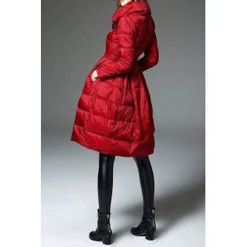 A Line Walker Quilted Coat - BURGUNDY M