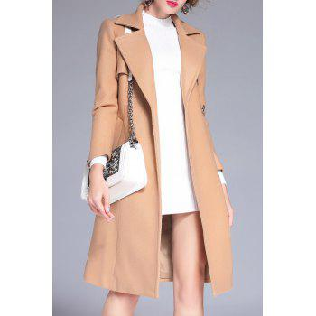 Wool Blend Longline Belted Coat - KHAKI S