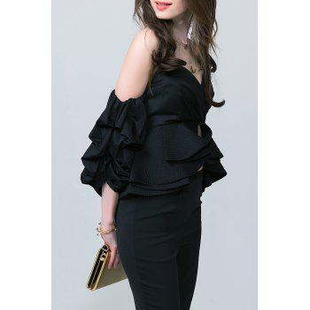 Cropped Off The Shoulder Blouse - BLACK M