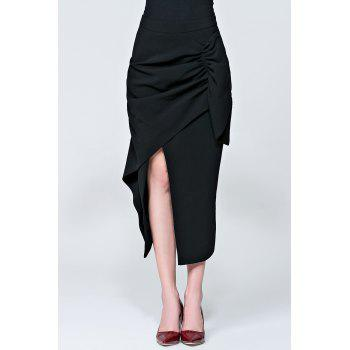 Asymmetric Slit Wrap Skirt