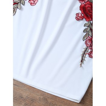Floral Embroidered Back Zippered Top with Skirt - WHITE L
