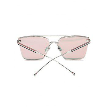 Travel Striped Metal Leg Square Mirrored Sunglasses -  BABY PINK