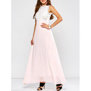 Maxi Lace Panel A Line Prom Formal Dress