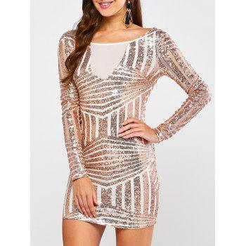 Low Back Sequin Long Sleeve Bodycon Mini Dress