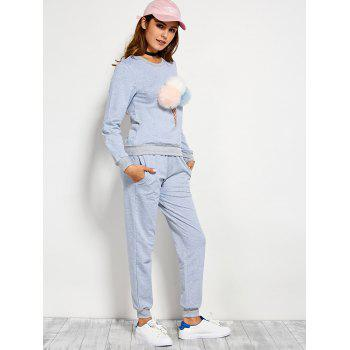Pompons Pullover Sweatshirt and Running Jogger Pants - BLUE GRAY L
