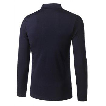 Stand Collar Long Sleeve Embroidered T-Shirt - CADETBLUE M
