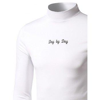 Stand Collar Long Sleeve Embroidered T-Shirt - WHITE 3XL