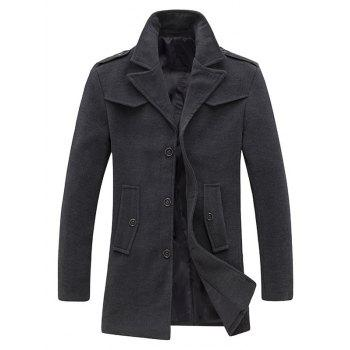 Epaulet Design Single Breasted Pocket Woolen Coat - GRAY GRAY