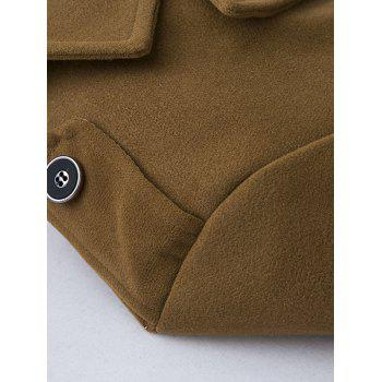 Epaulet Design Single Breasted Pocket Woolen Coat - KHAKI L