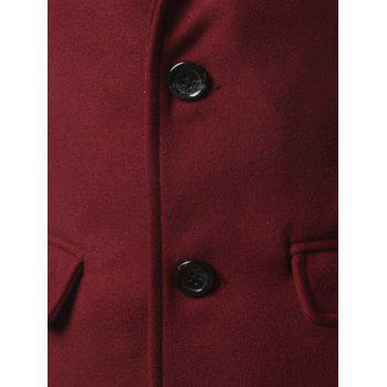 Single Breasted Back Vent Flap Pocket Woolen Coat - DEEP RED L