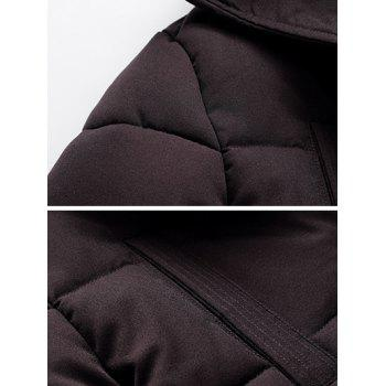 Flap Pocket PU Patch Hooded Padded Coat - BLACK XL