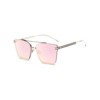 Travel Striped Metal Leg Square Mirrored Sunglasses - BABY PINK BABY PINK
