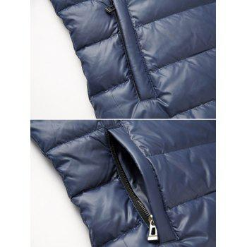 Slim Fit Funnel Neck Zipper Up Quilted Jacket - CADETBLUE 2XL
