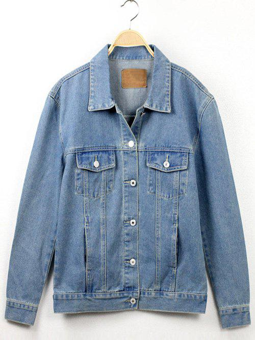 Button Fly Denim Jacket - LIGHT BLUE M