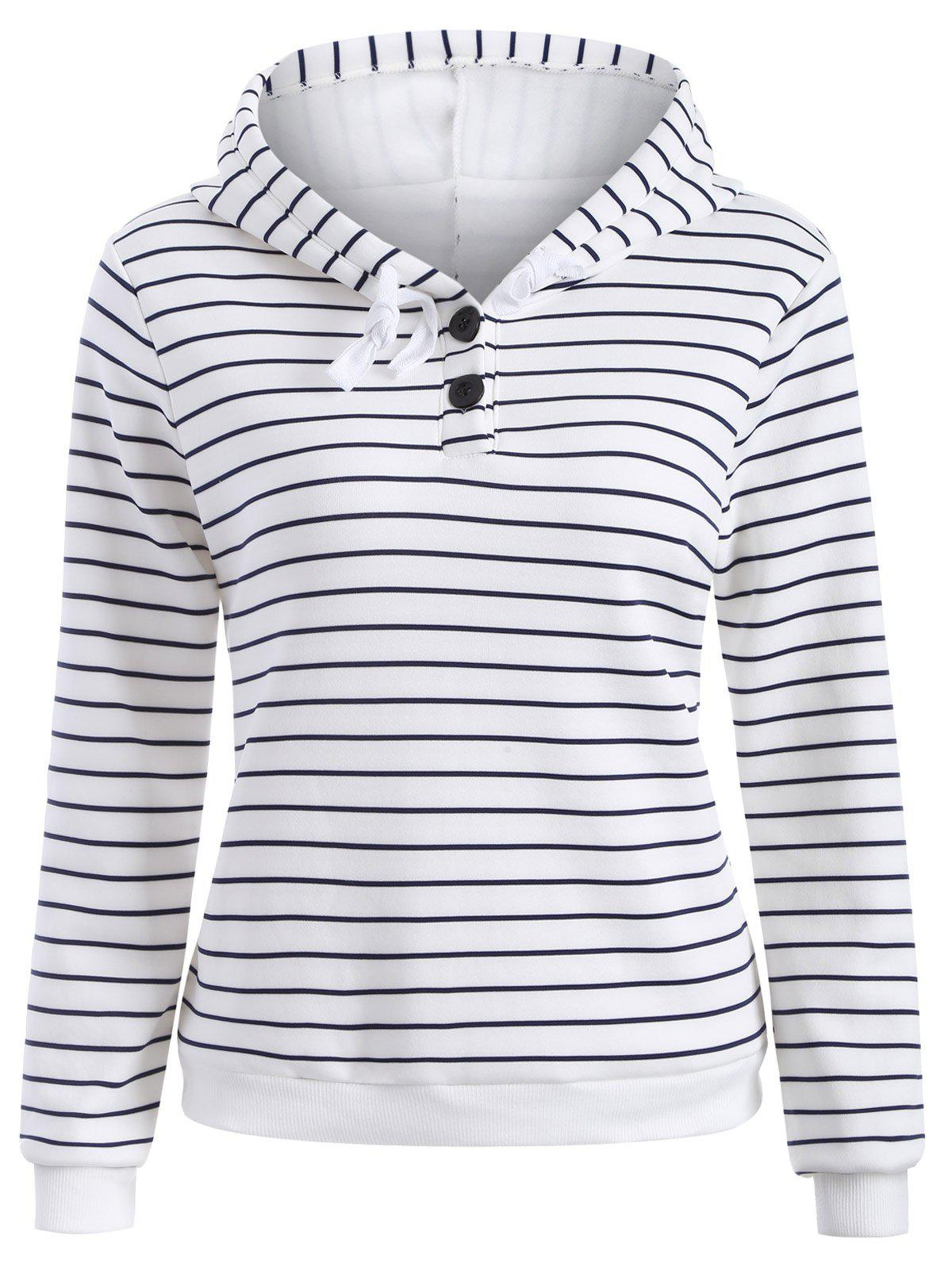 Striped Button Embellished Flocking Hoodie striped button embellished flocking hoodie