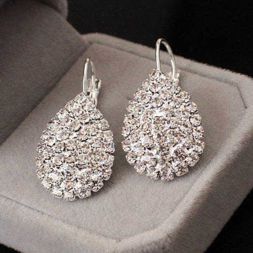 Rhinestone Embellished Teardrop Earrings - SILVER