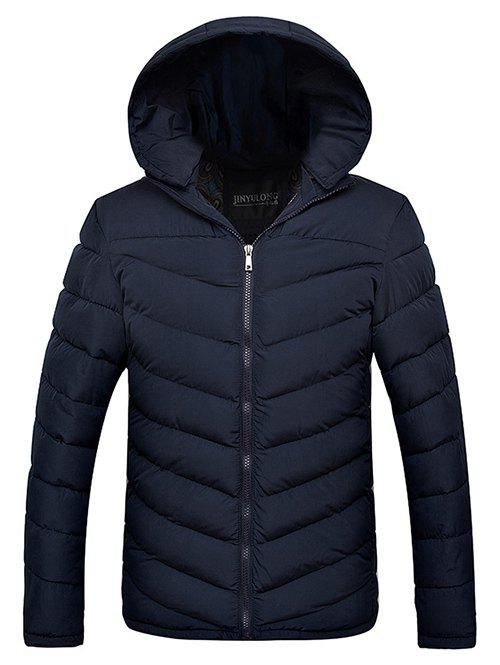 Slim Fit Zipper Up Hooded Quilted Jacket - CADETBLUE 2XL