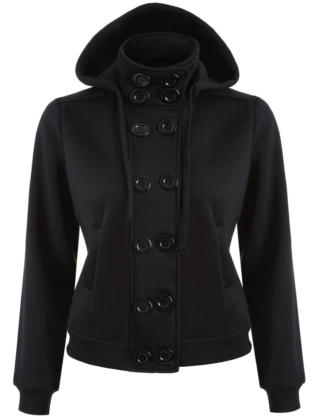 Double Breasted High Collar Hoodie JacketWomen<br><br><br>Size: M<br>Color: BLACK