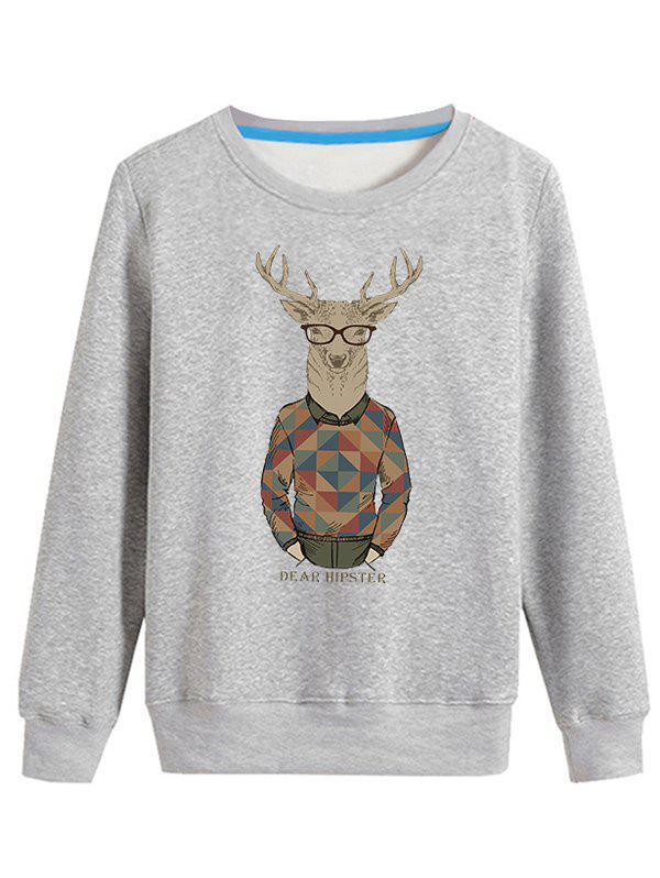 Pull-over ras du cou à manches longues imprimé Elk cartoon - Gris 3XL