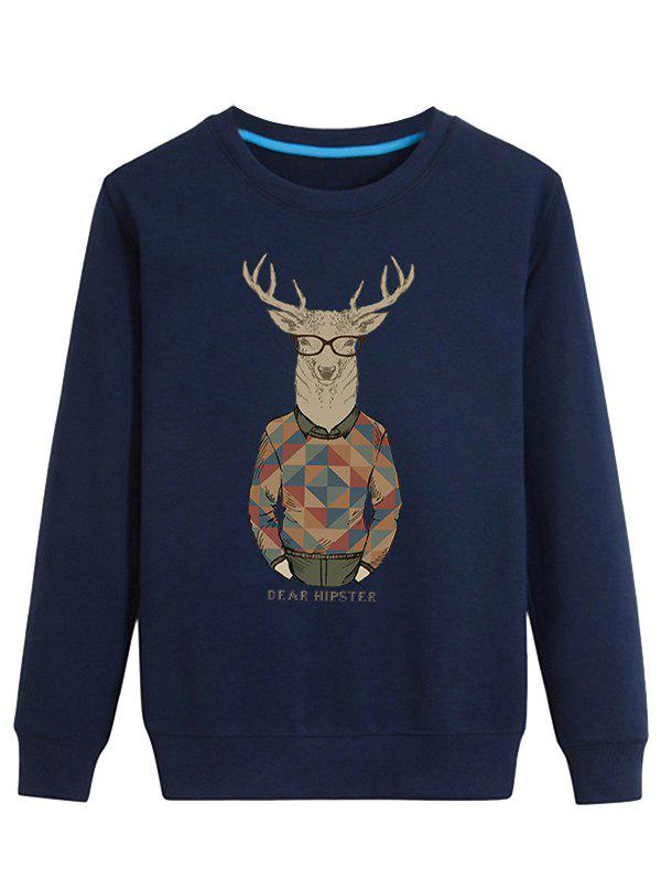 Cartoon Elk Print Long Sleeve Sweatshirt - CADETBLUE M