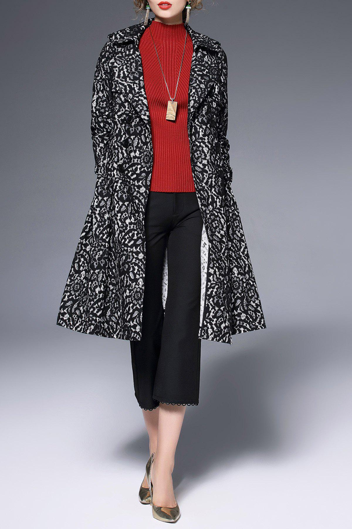 Double Breasted Belted Lace Coat, Black