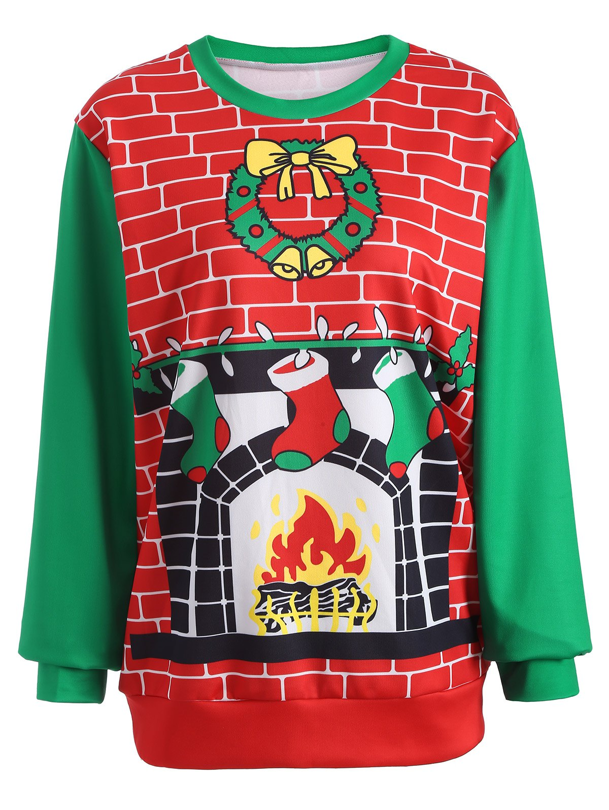 3D Christmas Print Color Block SweatshirtWomen<br><br><br>Size: ONE SIZE<br>Color: RED AND GREEN