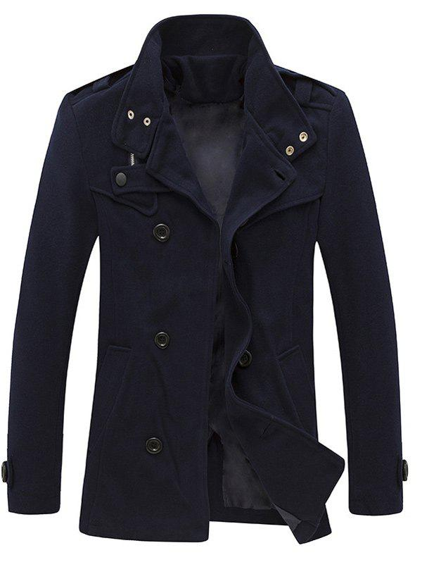 Stand Collar Zippered Epaulet Design Pea Coat - CADETBLUE 2XL