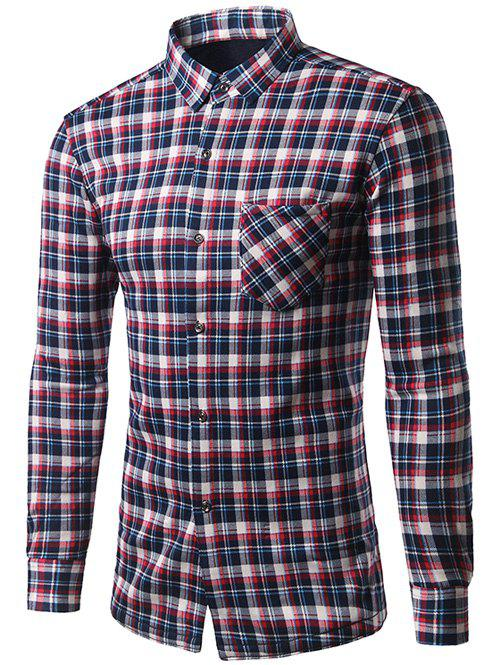 Thicken Turndown Collar Color Block Checked Shirt - COLORMIX L