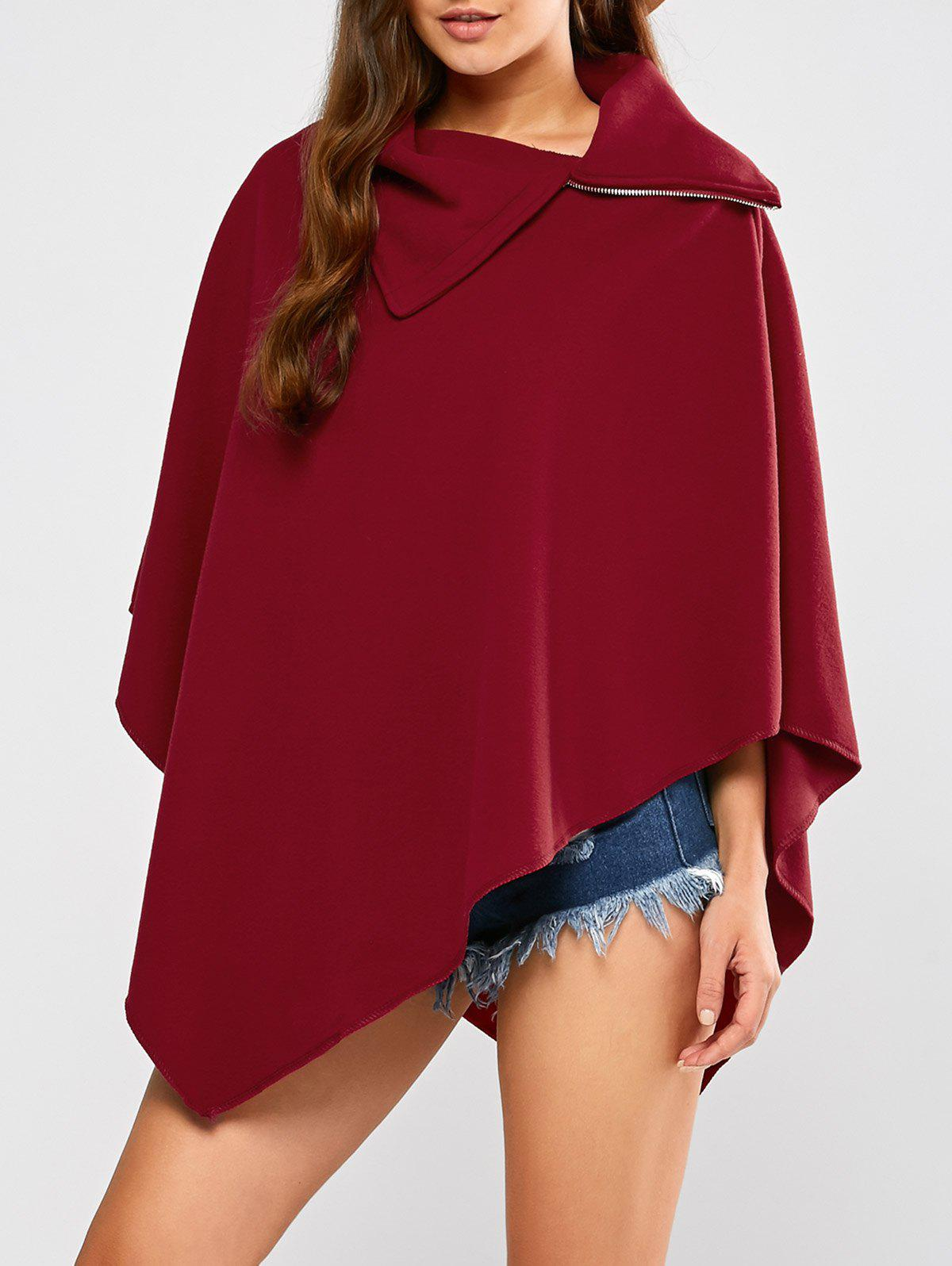 Asymmetric Hem Poncho - WINE RED XL