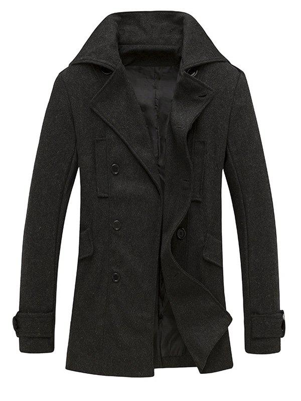 Epaulet Design Pocket Button Tab Cuff Pea Coat - DEEP GRAY L