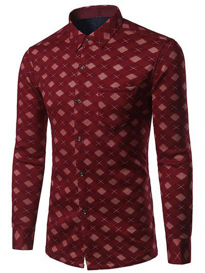 Thicken Turndown Collar Oblique Tartan Print ShirtMen<br><br><br>Size: 3XL<br>Color: RED