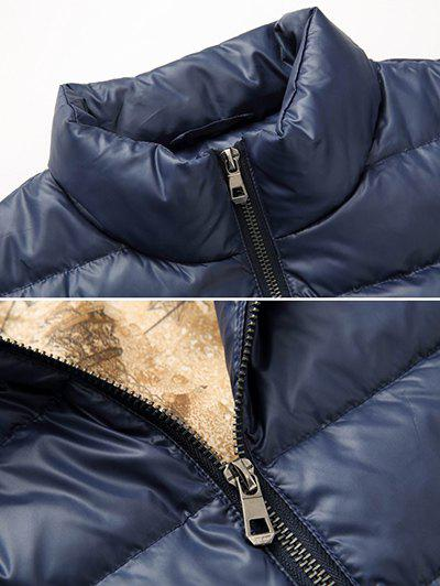 Slim Fit Funnel Neck Zipper Up Quilted Jacket - BLACK XL