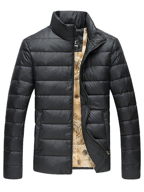 Slim Fit Funnel Neck Zipper Up Quilted Jacket - BLACK M