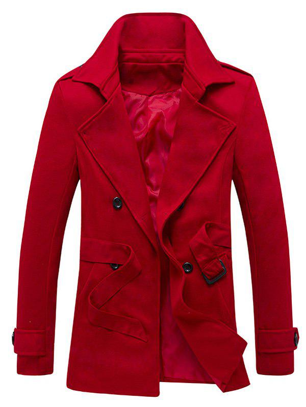 Belted Epaulet Design Back Vent Trench Coat - RED XL