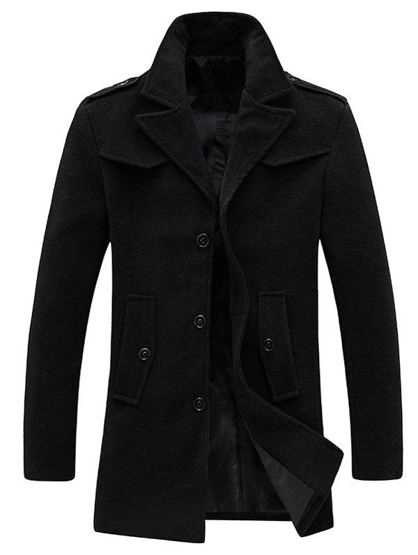 Epaulet Design Single Breasted Pocket Woolen Coat - BLACK 2XL