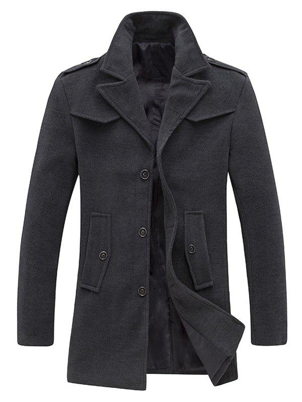Epaulet Design Single Breasted Pocket Woolen Coat - GRAY M