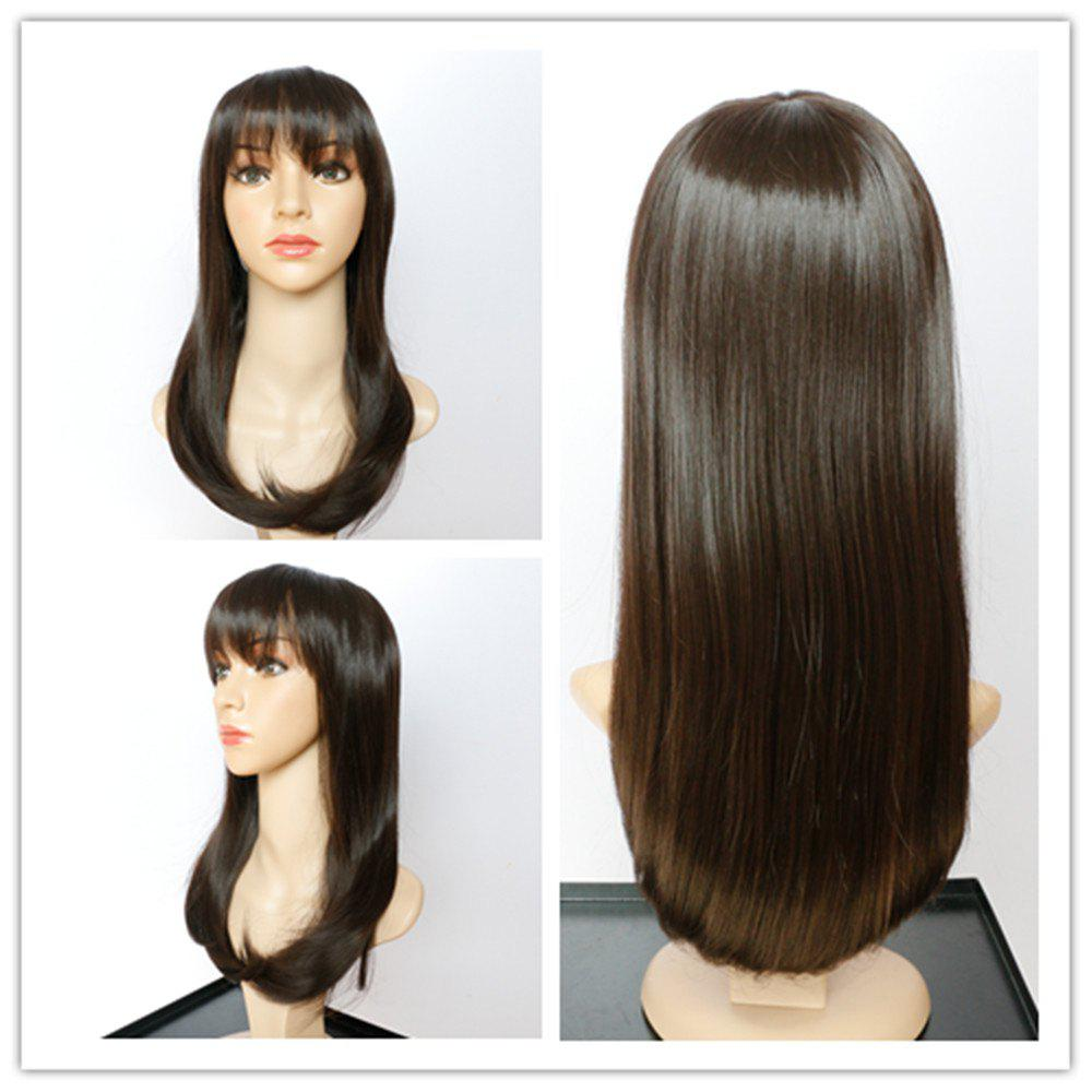 Ladylike Synthetic Women's Dark Brown Long Tail Adduction Neat Bang Wig - BLACK BROWN