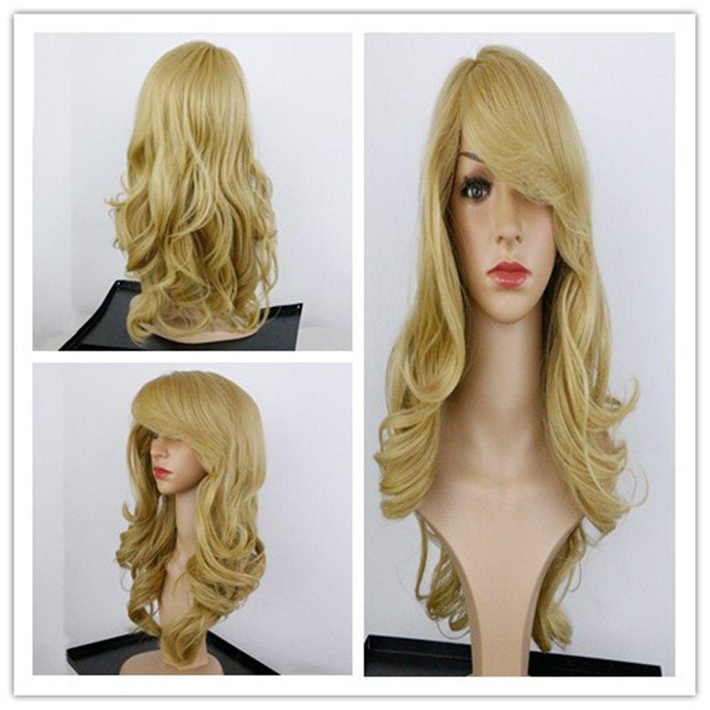 Charming Long Synthetic Blonde Capless Fluffy Wavy Women's Wig - GOLDEN