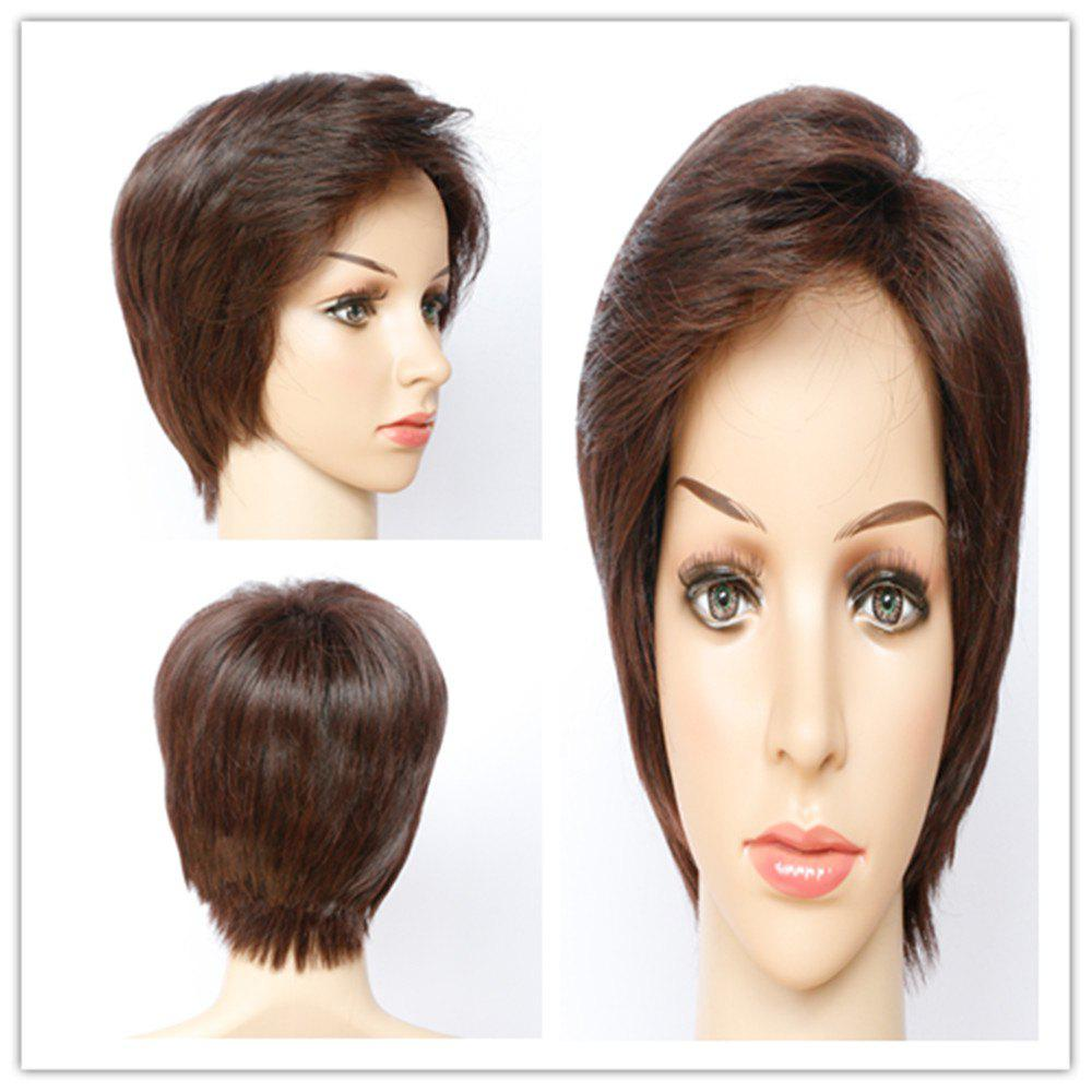 Fashion Side Bang Capless Straight Dark Brown Short Synthetic Wig For Women - DEEP BROWN