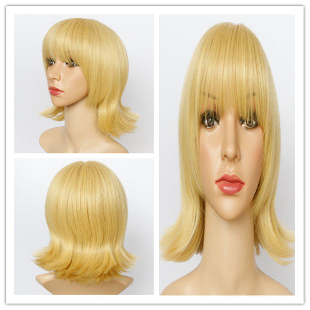 Vogue Straight Layered Full Bang Medium Golden Synthetic Wig For Women - GOLDEN