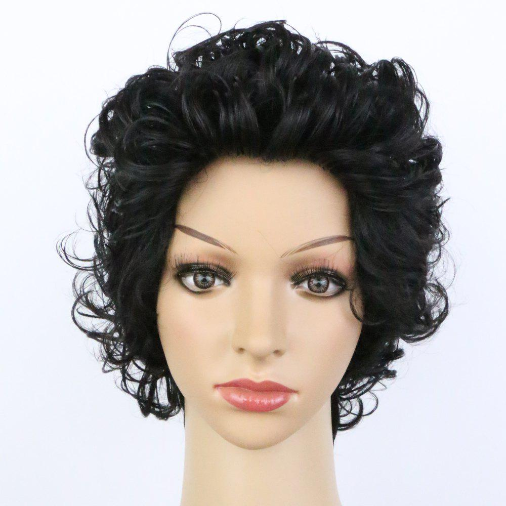 Handsome Women's Ultrashort Curly Natural Black Synthetic Hair Wig - BLACK