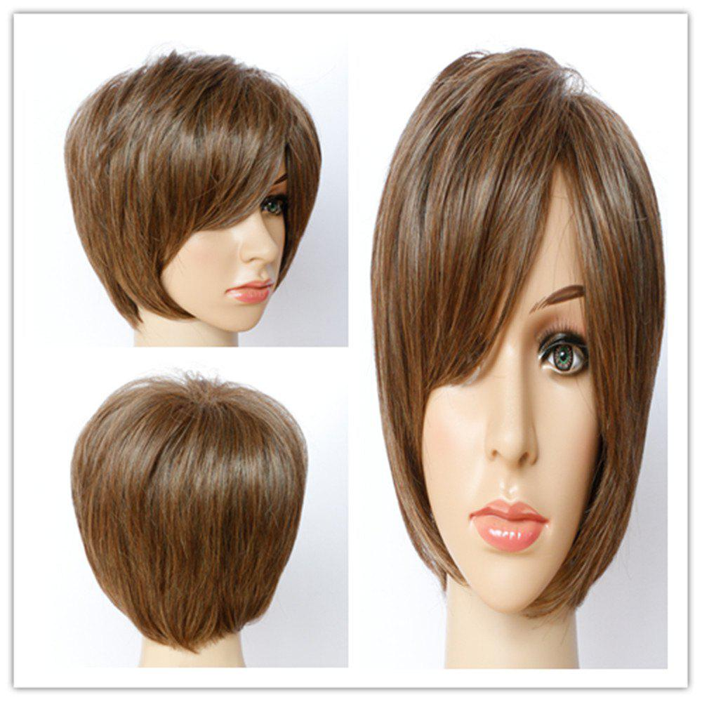 Stylish Women's Short Shaggy Mixed Color Side Bang Synthetic Hair Wig - COLORMIX