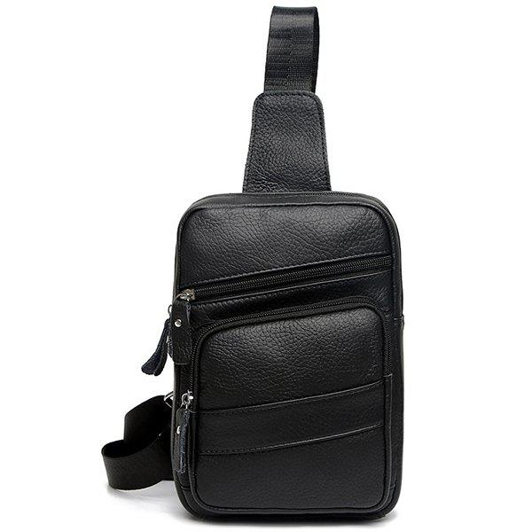 Faux Leather Sling Pack - BLACK